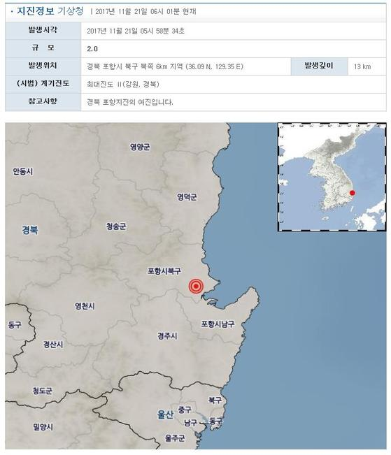 21일 오전 5시 58분께 발생한 포항 지진 관련 기상청 정보. [연합뉴스]