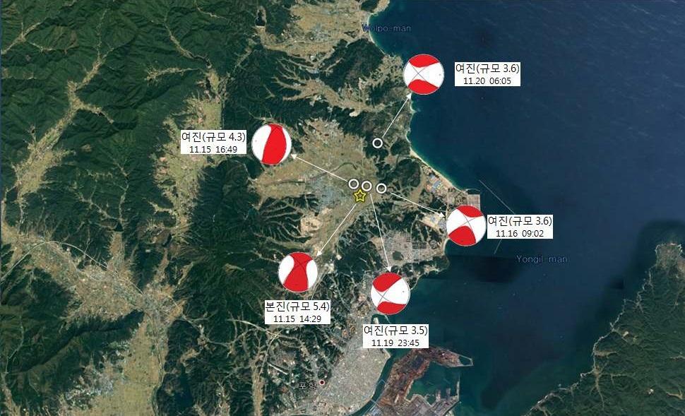 기상청과 한국지질자원연구원이 지난 15일 포항 지진 발생지점을 정밀 분석한 결과, 당초보다 남동쪽으로 1.5km 떨어진 곳으로 분석됐다. [자료 기상청]