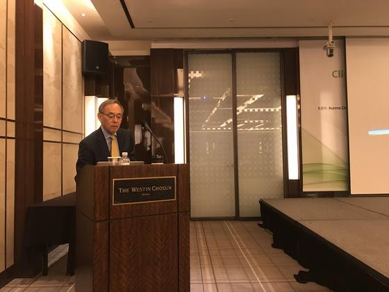 서울 웨스틴조선호텔에서 강연 중인 스티븐 추 전 미국 에너지부 장관. 문희철 기자.