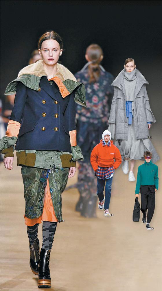 스타일링에 따라 같은 옷도 전혀 새로운 패션으로 다시 태어난다. 커다란 점퍼 위에 짧은 코트를 조합한 사카이① 부터 셔츠에 터틀넥·패딩을 여러 겹 입힌 유돈초이②, 후드티 2개를 한꺼번에 입은 발렌시아가 ③, 정장 슈트 위에 스웨터를 입힌 디올④ 까지 올 겨울 컬렉션에서는 틀을 깨는 과감한 스타일링이 많았다.
