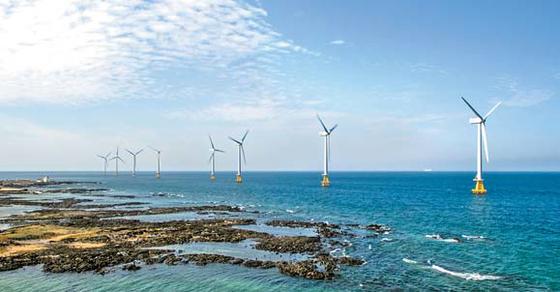 탐라해상풍력발전은 한국남동발전과 두산중공업이 제주시 한경면 두모리에서 금등리 해역에 설치한 해상풍력발전단지이다. [사진 한국남동발전]