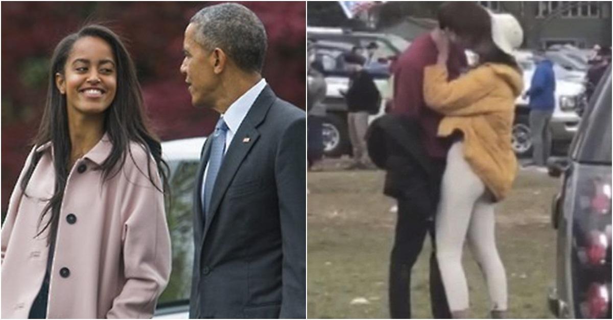 버락 오바마 전 미국 대통령과 큰딸 말리아(왼쪽), 말리아와 남자친구 파쿼슨 [사진 연합뉴스·유튜브]