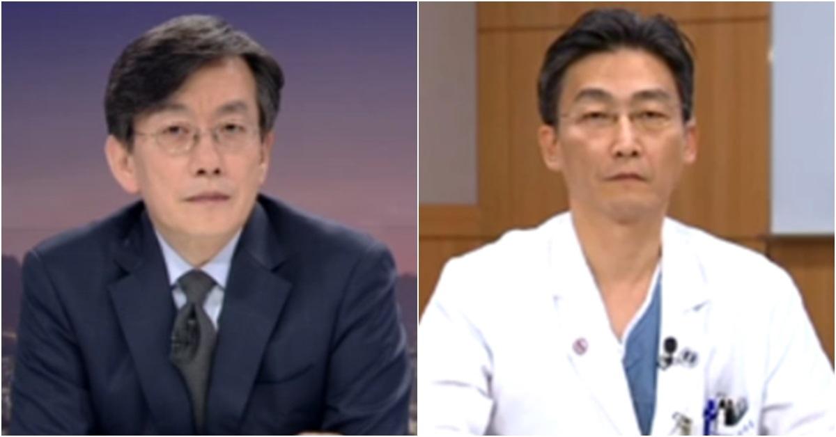 손석희 JTBC 앵커(왼쪽)와 이국종 교수. [사진 JTBC 방송 캡처]