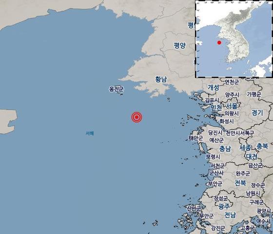 24일 0시29분쯤 인천시 옹진군 연평도 남서쪽 76㎞ 해역에서 2.6 규모의 지진이 발생했다. [사진 기상청]