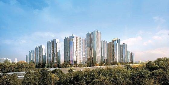 강남의 새로운 랜드마크로 만들겠다는 GS건설의 의지가 담긴 개포 주공4단지 재건축 투시도.