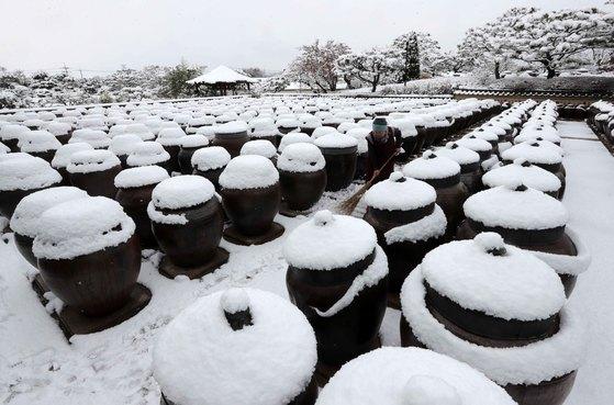 경기도 안성시 일죽면 서일농원 서분례 전통식품 명인이 24일 장독대 사이에 쌓인 눈을 쓸고 있다.김상선 기자