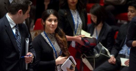 지난 16일 유엔 안전보장이사회에 참석해 수니파 급진주의 무장단체 '이슬람국가'(IS)의 만행을 고발한 이라크 야지디족 여성 나디아. [사진 유엔]
