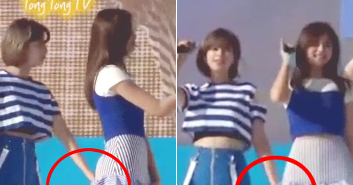 Jungyeon comes to Tzuyu's rescue on stage