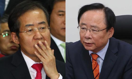홍준표 자유한국당 대표와 이주영 의원. [중앙포토]