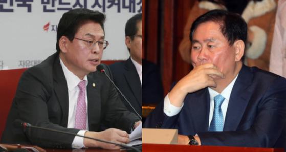 """정우택(왼쪽) 자유한국당 원내대표가 검찰 소환에 불응하고 있는 최경환 의원에 대해 """"당 차원의 결정이 아닌 의원 개인 판단에 따른 것""""이라고 밝혔다. [중앙포토]"""