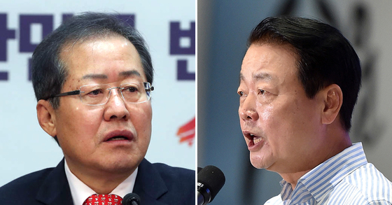 홍준표 자유한국당 대표(왼쪽)와 한선교 자유한국당 의원. [중앙포토]