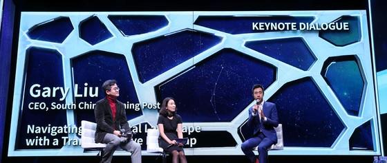 유민100년 미디어콘퍼런스가 29일 오후 서울 한남동 블루스퀘어에서 열렸다. 게리 리우 사우스차이나모닝포스트 CEO가 기조대담에서 발언하고 있다. 박종근 기자