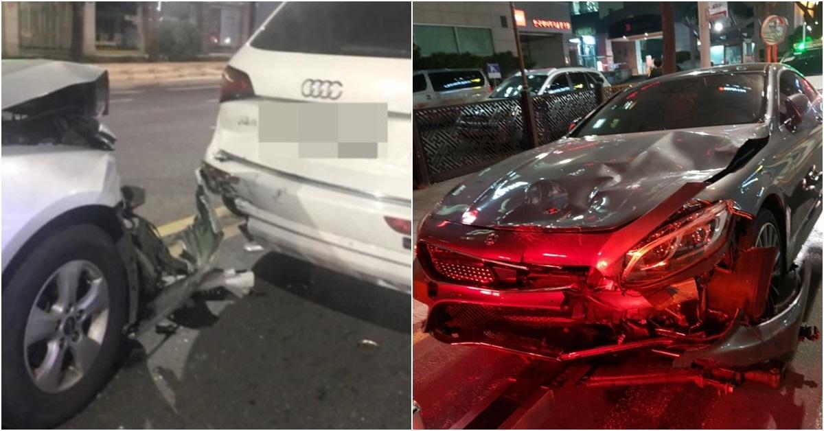 '피해자'라고 주장하는 네티즌이 올린 사진(왼쪽)과 '견인기사'라고 주장하는 네티즌이 올린 사진.