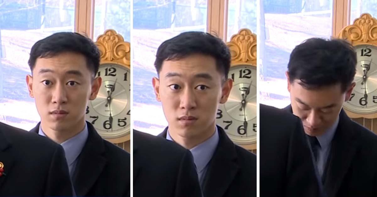 송영무 국방부장관의 27일 '미니스커트 발언' 당시 송장관 뒤에 서 통역을 담당하던 장교의 표정이 눈길을 끌었다. [JTBC뉴스룸 캡처]