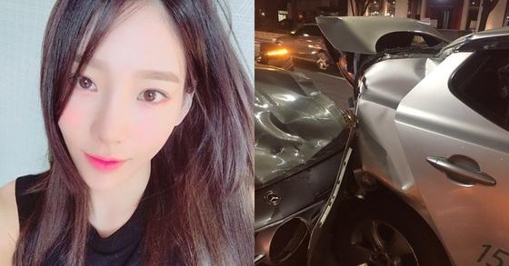 가수 태연(왼쪽)과 자신을 태연이 낸 교통사고 피해자라고 주장한 네티즌이 올린 사고현장 사진. [사진 태연 인스타그램, 온라인 커뮤니티]