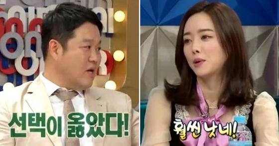 """방송인 김구라(왼쪽)가 배우 홍수아에게 솔직하게 '훨씬 낫다""""고 말했다. [사진 MBC캡처]"""