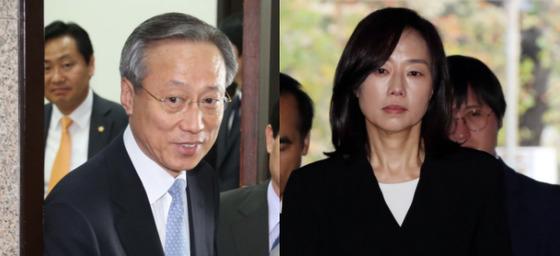 박준우(왼쪽) 전 청와대 정무수석과 조 전 수석. [중앙포토]