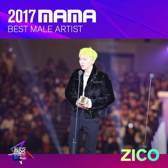 ZICO as 2017 MAMA's 'Best Male Artist.' Photo from Twitter @MnetMAMA