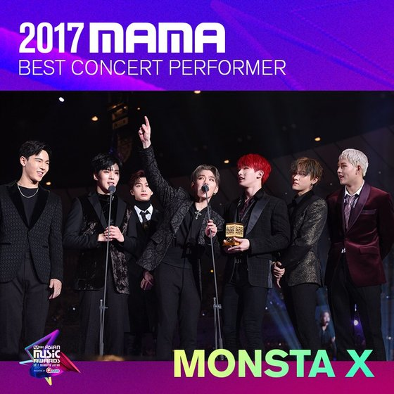 MONSTA X as 2017 MAMA's 'Best Concert Performer.' Photo from Twitter @MnetMAMA