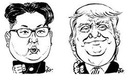 김정은(左), 트럼프(右)