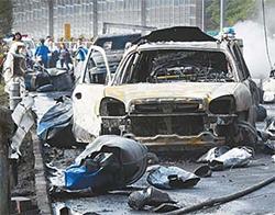 지난 2일 오후 화물차 폭발사고로 8명의 사상자가 난 창원시 창원터널 인근의 사고현장. [뉴시스]
