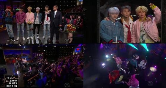 30일(현지시간) 방송된 CBS '더 레이트 레이트 쇼 위드 제임스 코든'에 출연한 방탄소년단. [사진 CBS]