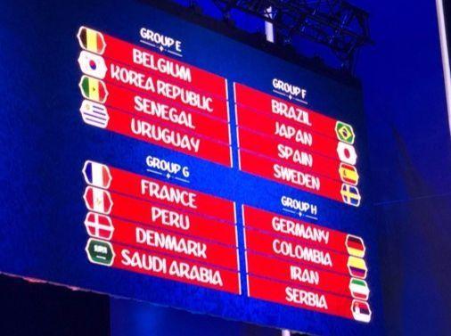 30일 조 추첨 리허설 직후 푸욜은 트위터를 통해 리허설 추첨 결과를 공개했다. 한국은 벨기에(5위) 세네갈(32위) 우루과이(17위)와 E조에 속했다. [사진 푸욜 트위터]