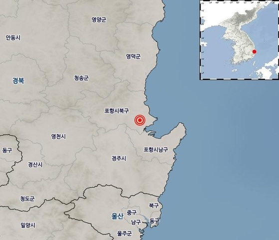 1일 포항 여진 발생 지점 [자료 기상청]