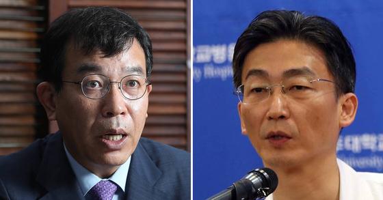 김종대 정의당 의원(왼쪽)과 이국종 아주대 권역외상센터장. [중앙포토]