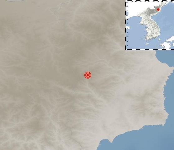 2일 오전 북한에서 규모 2.5의 지진이 발생한 지점. [자료 기상청]