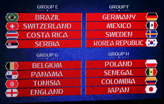 2018 월드컵 조추첨 결과. [로이터=연합뉴스]