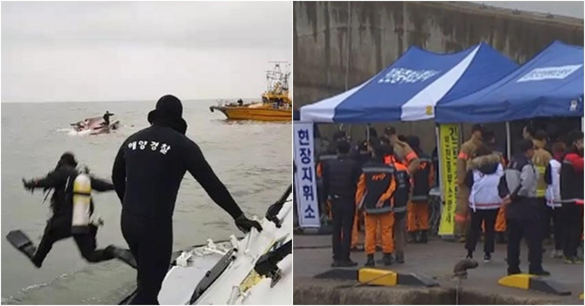 3일 오전 6시12분께 인천 영흥도 앞 해상에서 22명이 탄 낚싯배가 전복됐다. 해경 잠수부가 사고해역에서 구조에 나서고 있다. (왼쪽) 영흥도 진두선착장 [사진 YTN·뉴스1]