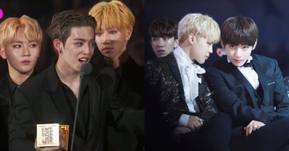SEVENTEEN's Vernon (left) and BTS' Jimin and V. Photo from '2017 MAMA' and '2016 MAMA.'