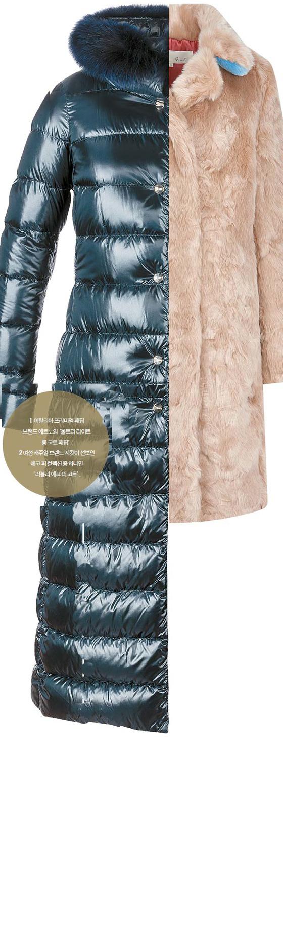 1. 이탈리아 프리미엄 패딩 브랜드 에르노의 '울트라 라이트 롱 코트 패딩'. 2 여성 캐주얼 브랜드 지컷이 선보인 에코 퍼 컬렉션 중 하나인 '러블리 에코 퍼 코트'.
