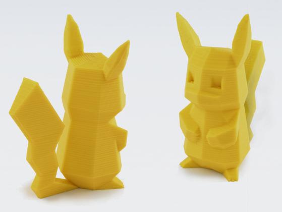 3D 프린터로 제작한 피카추 피규어. 3D 프린터를 이용해 어린이 주먹만한 피규어를 제작하는 데는 5~7시간 정도 걸린다. [사진 띵기버스]