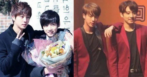 From boys to men…Jin (left) and Jungkook (right)'s transition over the years