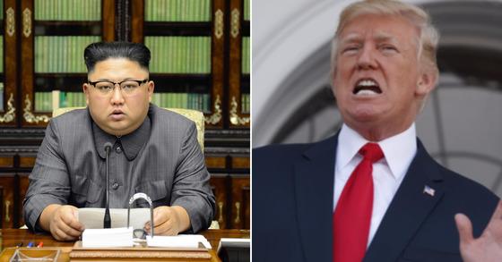김정은(왼쪽) 북한 노동당 위원장과 도널드 트럼프 미국 대통령. [평양 조선중앙통신=연합뉴스, AP=연합뉴스]