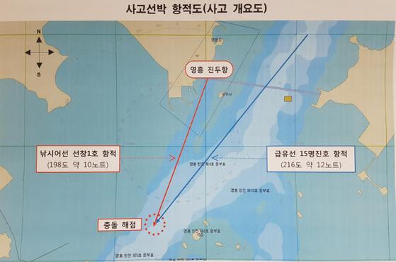 지난 3일 영흥도 영흥대교 남방 1.6km 지점 해역에서 급유선이 낚시배를 추돌, 낚싯배에 타고 있던 승객 13명이 숨지는 사고가 발생했다. 사진은 두 배의 항적도. [사진 인천해경]