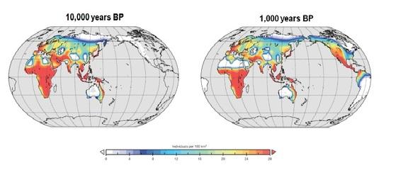 기후가 바꾼 인류의 거주지 (기준: 100㎢ 당 인구수) [자료 액슬 티머먼 IBS 기후물리연구단장]