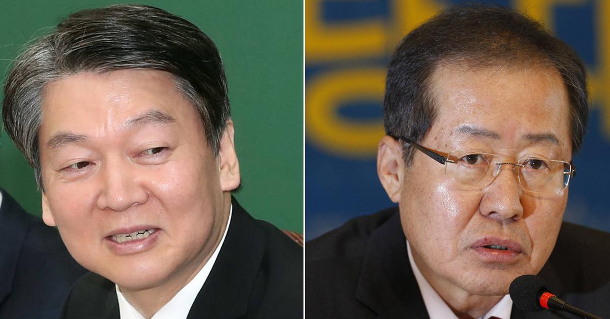 안철수 국민의당 대표(左)와 홍준표 자유한국당 대표(右). [중앙포토]