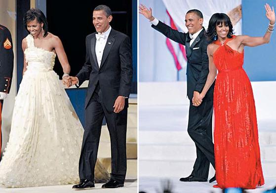2009년, 2013년 버락 오바마 대통령 취임 축하 무도회에서 신인 디자이너 제이슨 우의 드레스를 연달아 입은 미셸 오바마. [중앙포토]