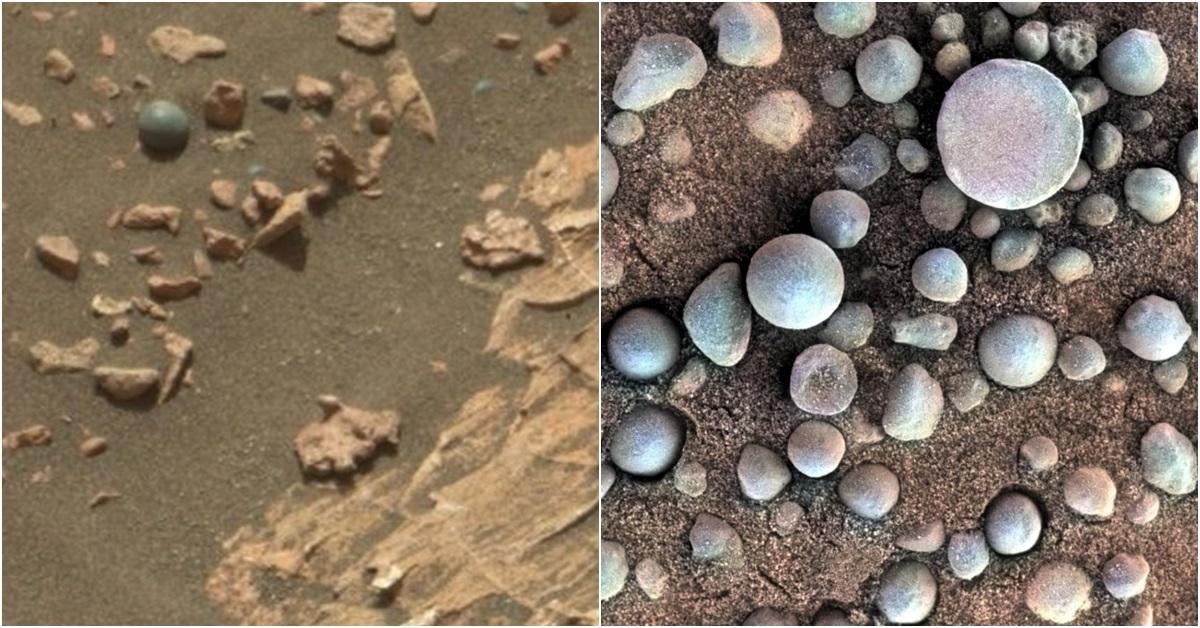 이번에 발견된 포탄 모양의 자갈(왼쪽)과 2014년 '블루베리'를 연상시키는 적철광석. [사진 큐리오시티 로버 트위터]