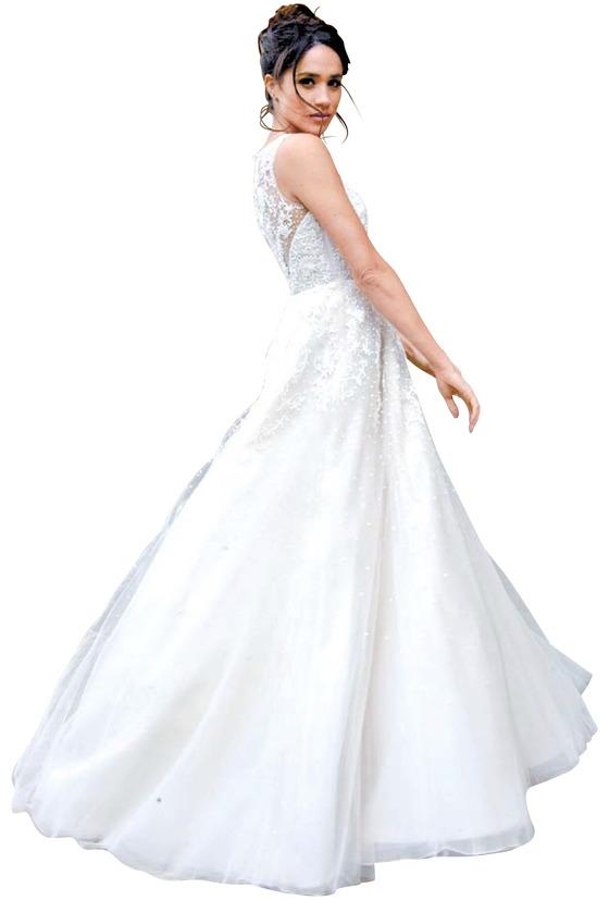2016년 드라마 '슈츠'에서 극 중 웨딩 드레스를 입은 마클의 모습. 미국 디자이너 브랜드 애니 바지의 2016년 컬렉션이다. [사진 핀터레스트]