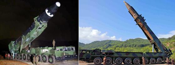 북한이 지난 29일 발사한 신형 대륙간탄도미사일(ICBM)급 '화성-15형'(왼쪽)과 7월 발사한 ICBM급 '화성-14형'(오른쪽). 북한 매체에 공개된 사진을 보면 '화성-15형'은 바퀴 축이 9개인 이동식 발사차량(TEL)에 실린 반면 '화성-14형'은 TEL이 8축 차량이며, '화성-15형'의 끝 부분이 더 둥글다. [연합뉴스] [국내에서만 사용가능. 재배포 금지. For Use Only in the Republic of Korea. No Redistribution] <저작권자 ⓒ 1980-2017 ㈜연합뉴스. 무단 전재 재배포 금지.>
