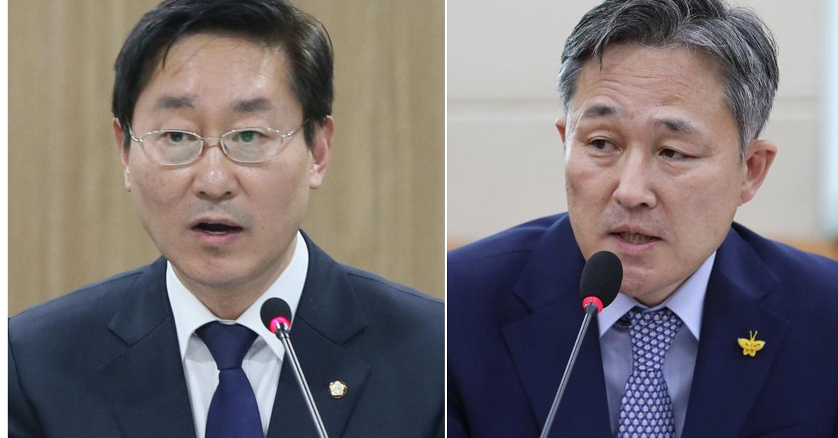 박범계 더불어민주당 최고위원(좌)과 표창원 더불어민주당 의원(우) [news1·연합뉴스]