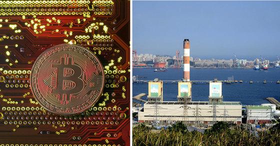 비트코인 가상 이미지. 오른쪽은 국내 화력발전소 모습. 사진은 기사와 관계없음[연합뉴스]