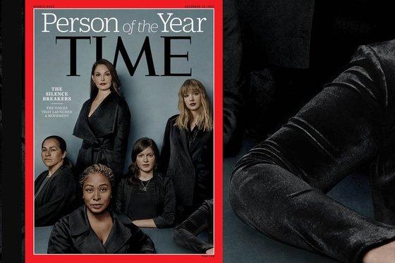 2017 타임지 선정 '올해의 인물' 표지. 오른쪽 하단에 한 여성의 팔이 함께 찍혔다. [사진 타임 홈페이지]