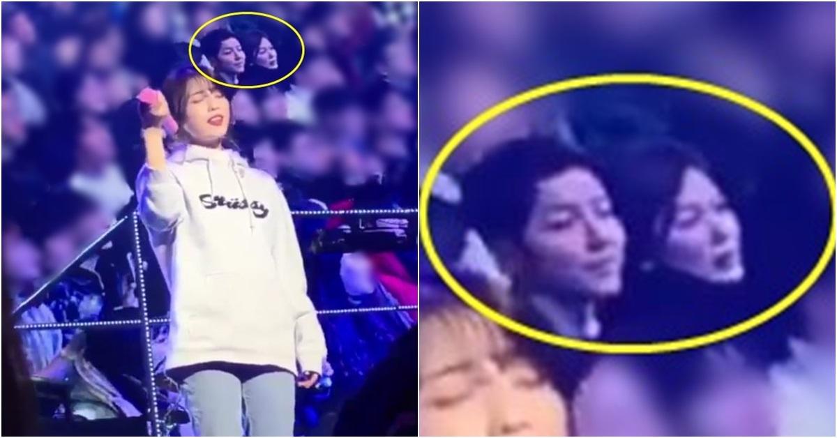 아이유 콘서트 전광판에 송중기와 송혜교 모습이 찍혔다. [사진 온라인 커뮤니티]