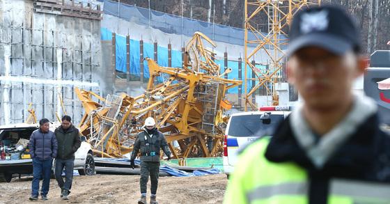 9일 발생한 용인 타워크레인 사고 현장 [뉴스1]