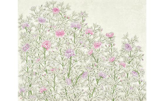 오길석, 꽃이 피다11, 순지에 채색, 91x116.7cm, 2017